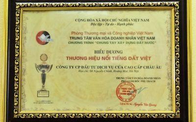 Bằng khen chứng nhận thương hiệu nổi tiếng Đất Việt năm 2015